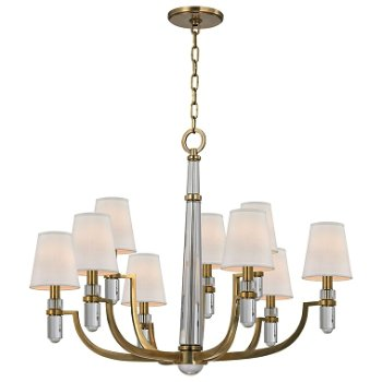 Shown in Aged Brass finish, Cream Eco-Paper shade, 9 light