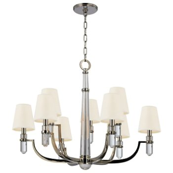 Shown in Polished Nickel finish, White shade, 9 light