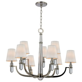 Shown in Polished Nickel finish, Cream shade, 9 light, in use
