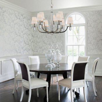Shown in Polished Nickel finish, Cream Eco-Paper shade, 9 light, in use