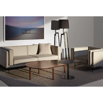 Bank 80-Inch Sofa with Stilt Floor Lamp, Swole Small Side Table, Swole Large Coffee Table, Bank Lounge Chair and Gam Gam Pillow