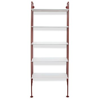 Shown in FLW Red finish, White shelves