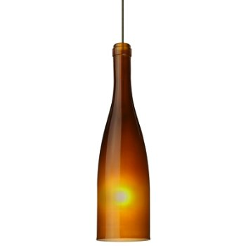 Shown in Bronze finish, Amber Frost shade, Small size