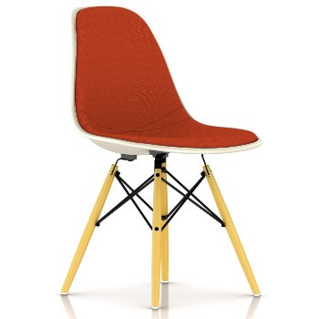 Eames Upholstered Molded Fiberglass Side Chair - Wood