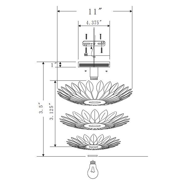 Broche 1 Light Wall Sconce/Flushmount