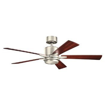 Shown in Brushed Nickel with Walnut blades and light cap