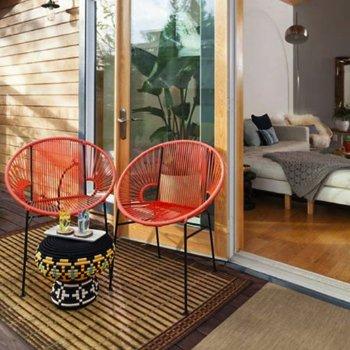 Shown in Orange with Black frame, in use