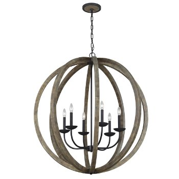 Shown in Weathered Oak Wood with Antique Forged Iron finish, Extra Large size