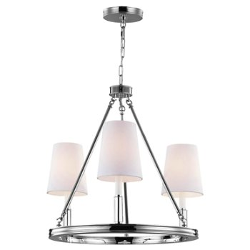 Shown in Polished Nickel with White shade, 3 lights