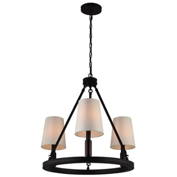 Shown in Oil Rubbed Bronze with Ivory shade, 3 lights