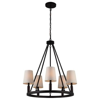 Shown in Oil Rubbed Bronze with Ivory shade, 5 lights