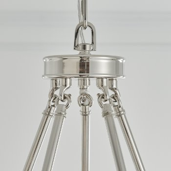 Shown in Polished Nickel with White shade, 5 lights