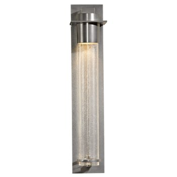 Shown in Seeded Clear Glass shade, Vintage Platinum finish, Medium size