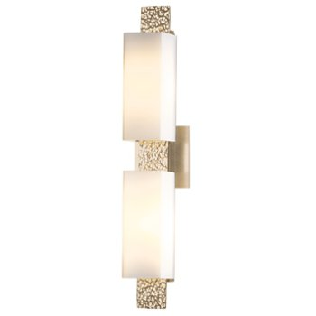 Shown in Pearl shade, Soft Gold finish, 2 light option