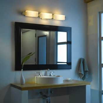 Shown in Stone shade, Vintage Platinum finish, 3-Light option, in use