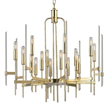 Shown in Aged Brass finish, 16 Light option