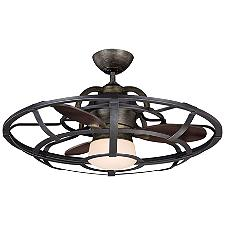 Alsace Caged Ceiling Fan - Body Finish: Reclaimed Wood - Blade Color: Chestnut