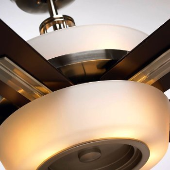 Shown in Brushed Steel with Dark Mahogany finish, lit