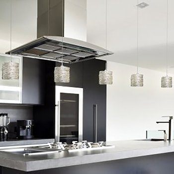 Installation of Coil Short Pendants in Silver with Satin Nickel finish