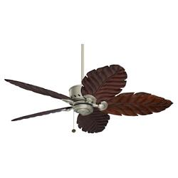 Maui Bay Hand Carved Leaf Blade Ceiling Fan
