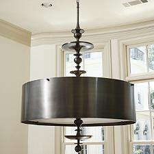 Turned Bronze Drum Pendant Light