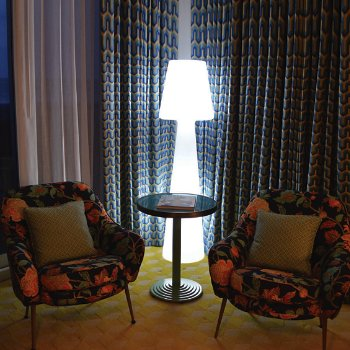 Ela LED Floor Lamp, lit, in use